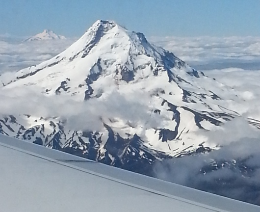 View of Mount Hood, flying into Portland