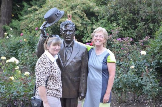 Mary and I with the founder of the rose garden, Jessie Currey