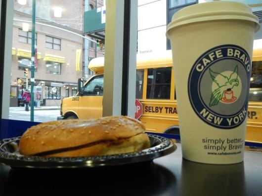 Corner cafe for bagels
