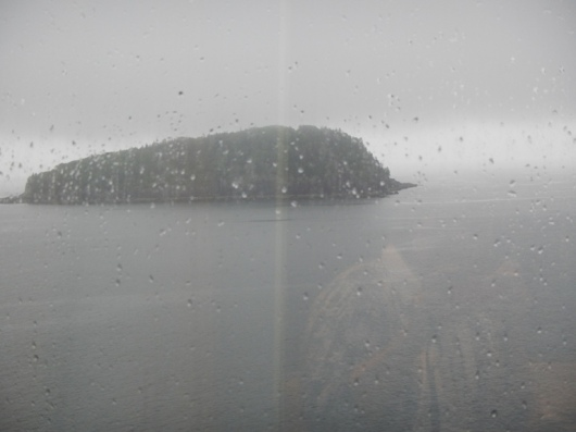 Dreary view of Bar Harbor bay