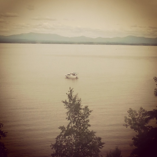 Lake Champlain from the train, looking east to Vermont