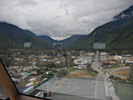 View of downtown Skagway from the Crow's Nest on the ship